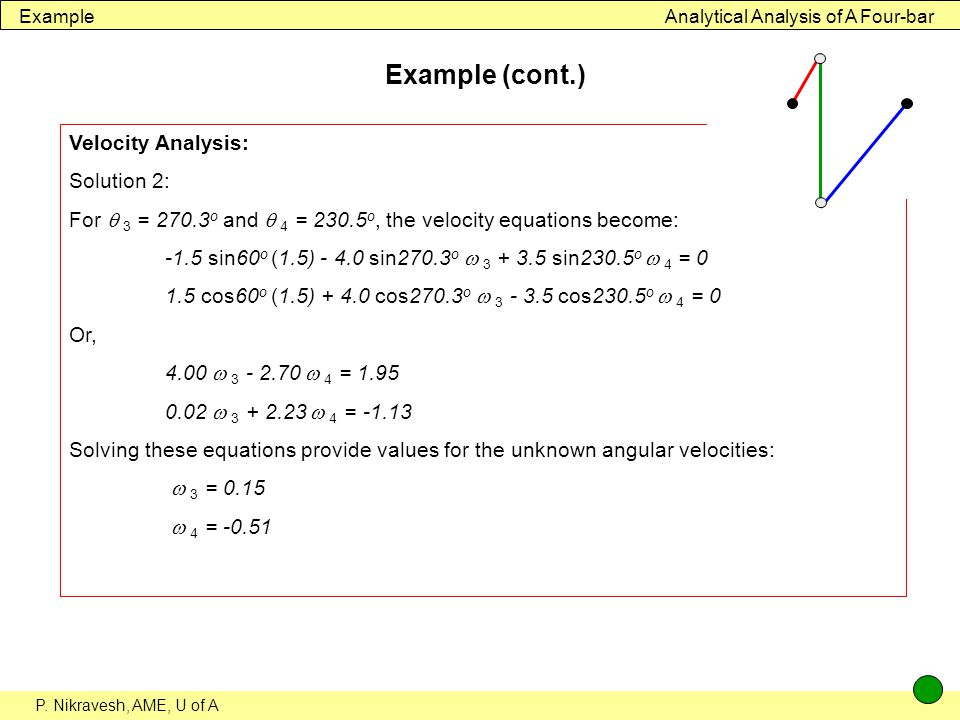 Example (cont.) Velocity Analysis: Solution 2: