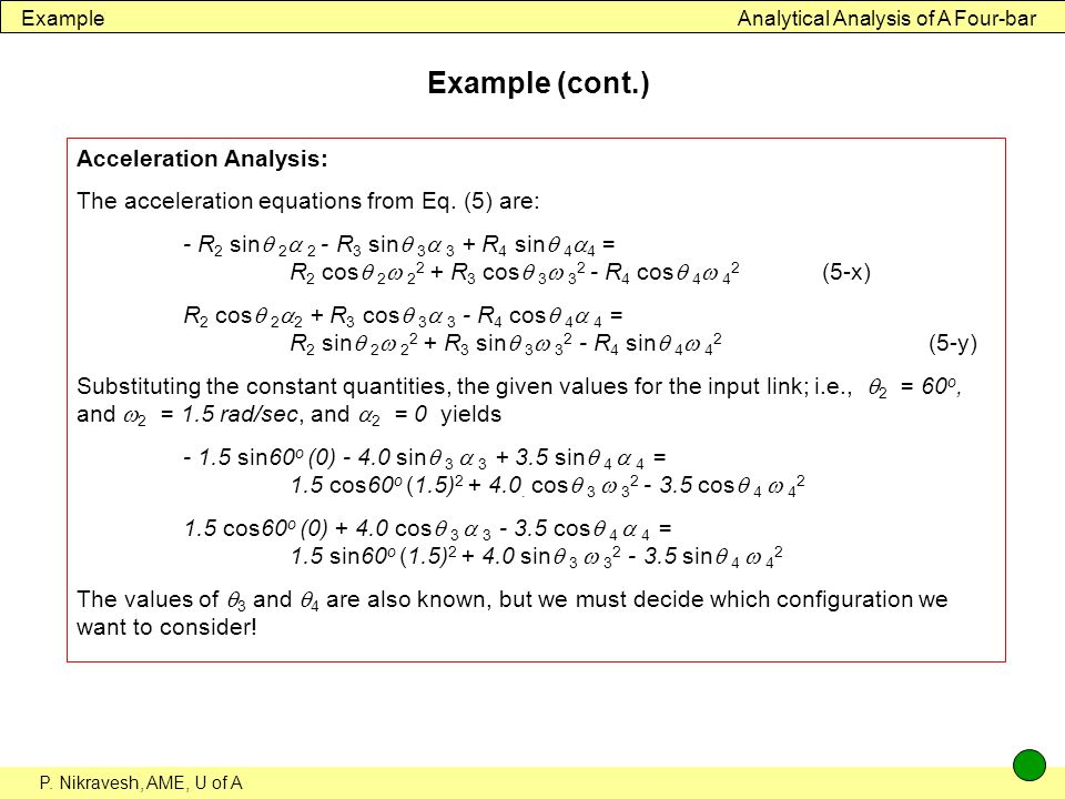 Example (cont.) Acceleration Analysis: