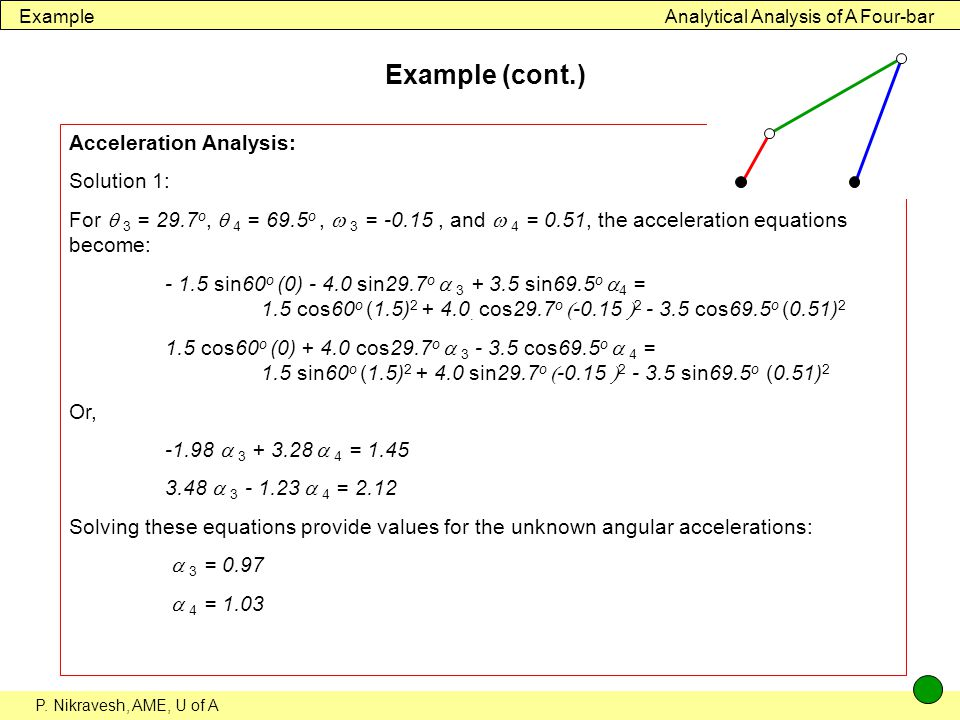 Example (cont.) Acceleration Analysis: Solution 1: