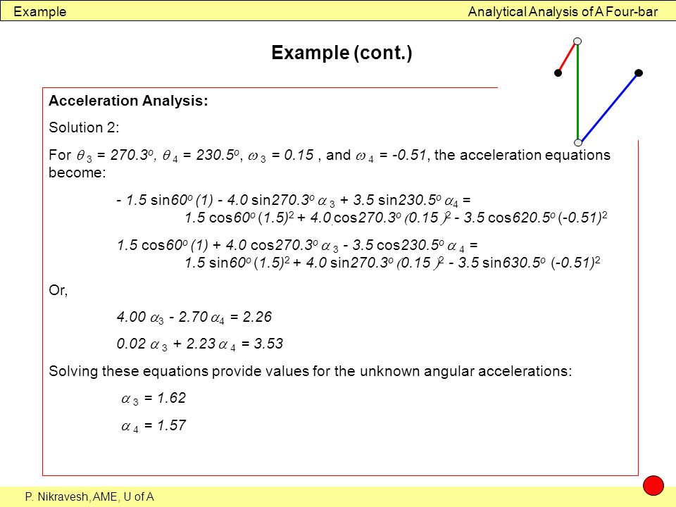 Example (cont.) Acceleration Analysis: Solution 2: