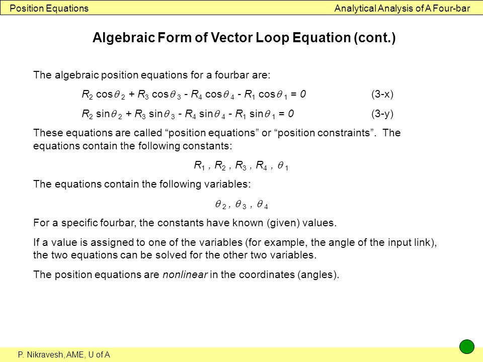 Algebraic Form of Vector Loop Equation (cont.)