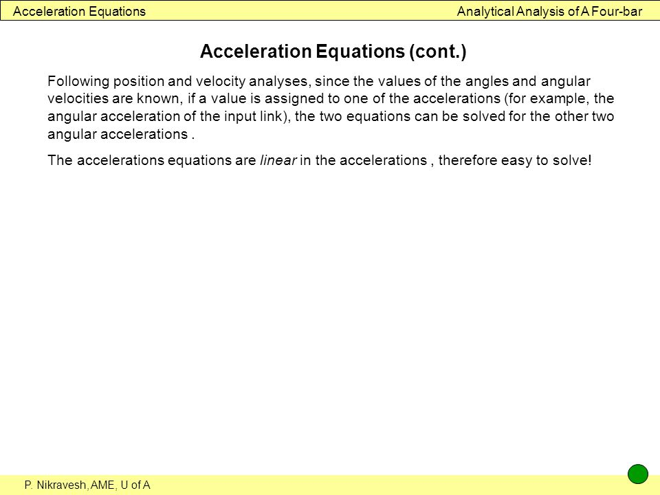 Acceleration Equations (cont.)
