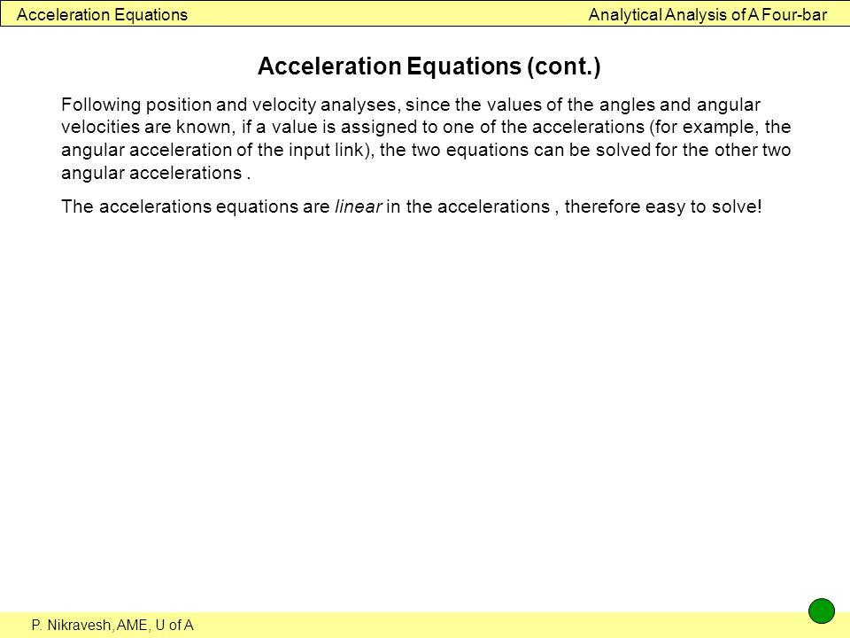 Acceleration Equations (cont.)