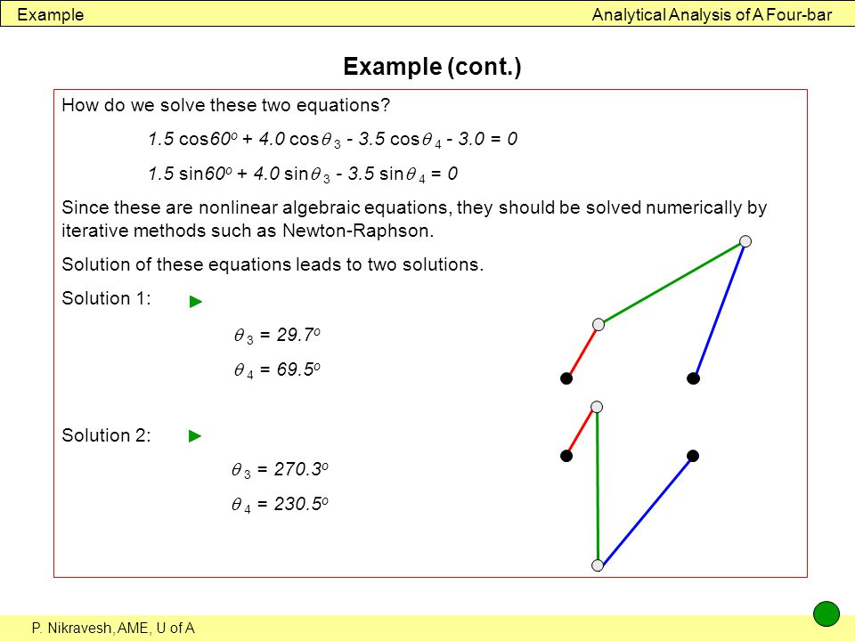 Example (cont.) How do we solve these two equations
