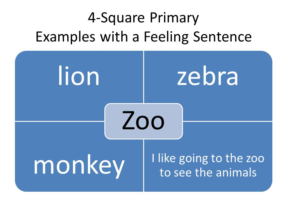 4-Square Primary Examples with a Feeling Sentence