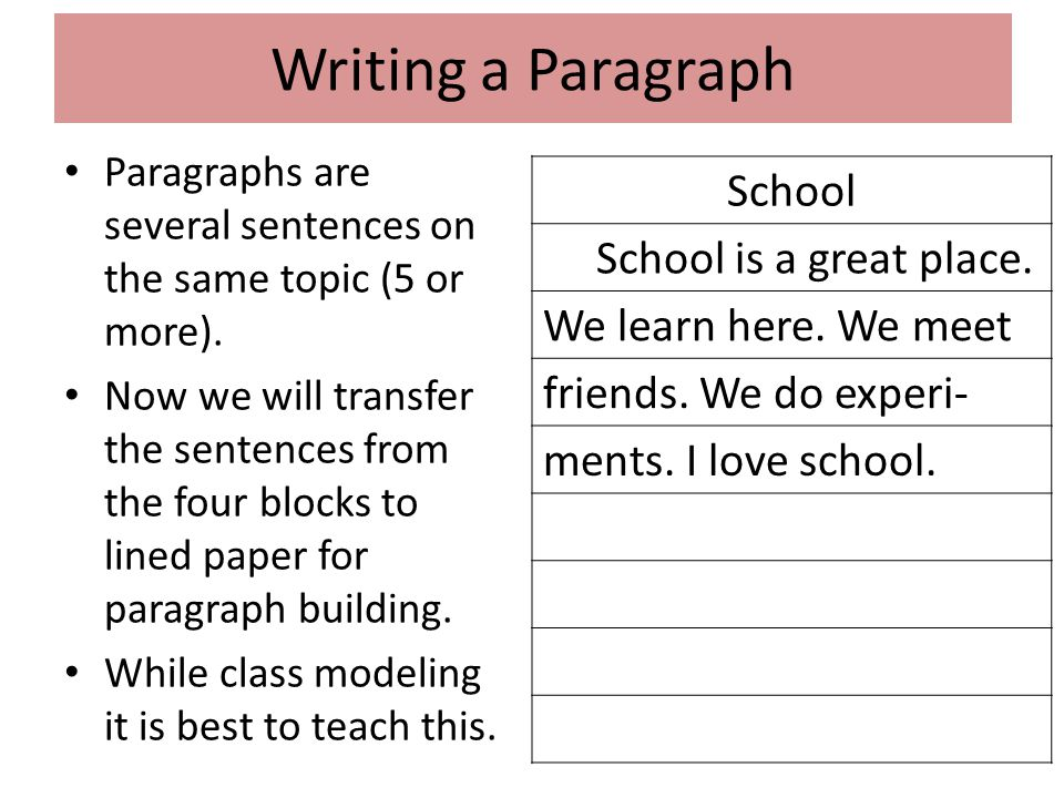 Writing a Paragraph School School is a great place.