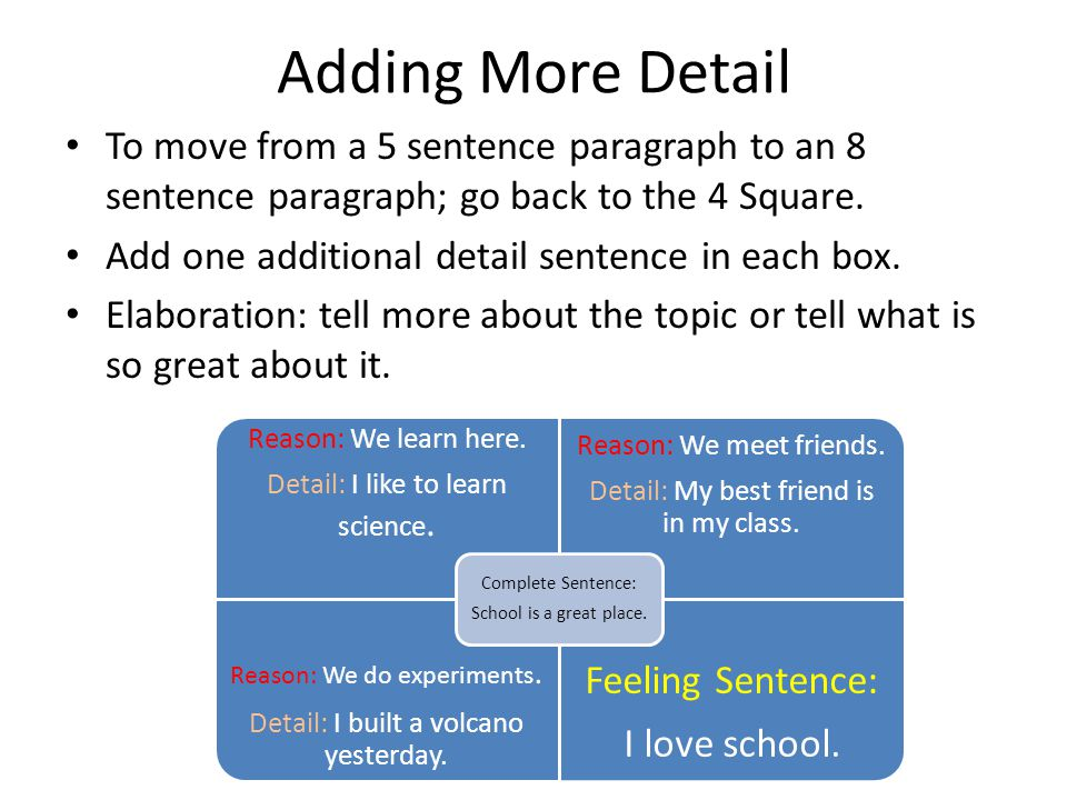 Adding More Detail To move from a 5 sentence paragraph to an 8 sentence paragraph; go back to the 4 Square.
