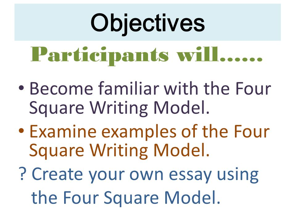 Objectives Participants will……