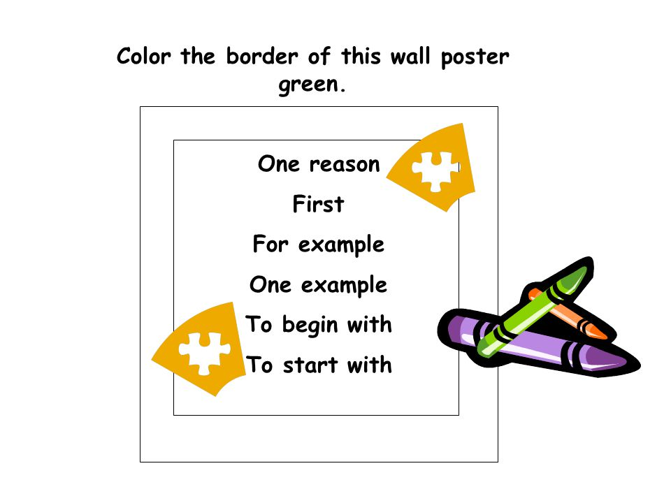 Color the border of this wall poster green.