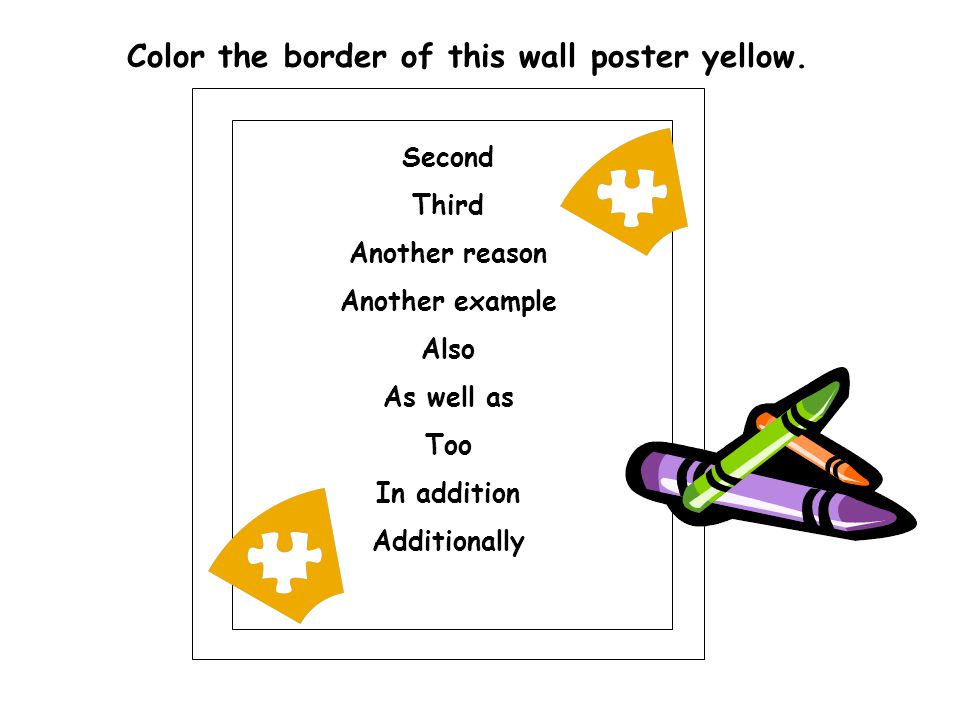 Color the border of this wall poster yellow.