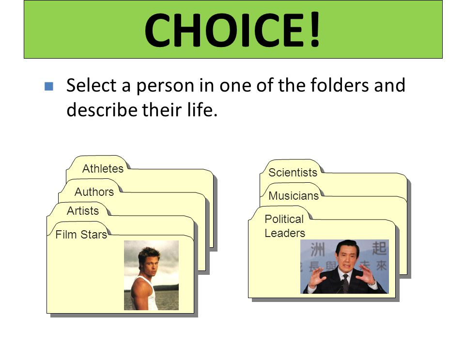 CHOICE! Select a person in one of the folders and describe their life.