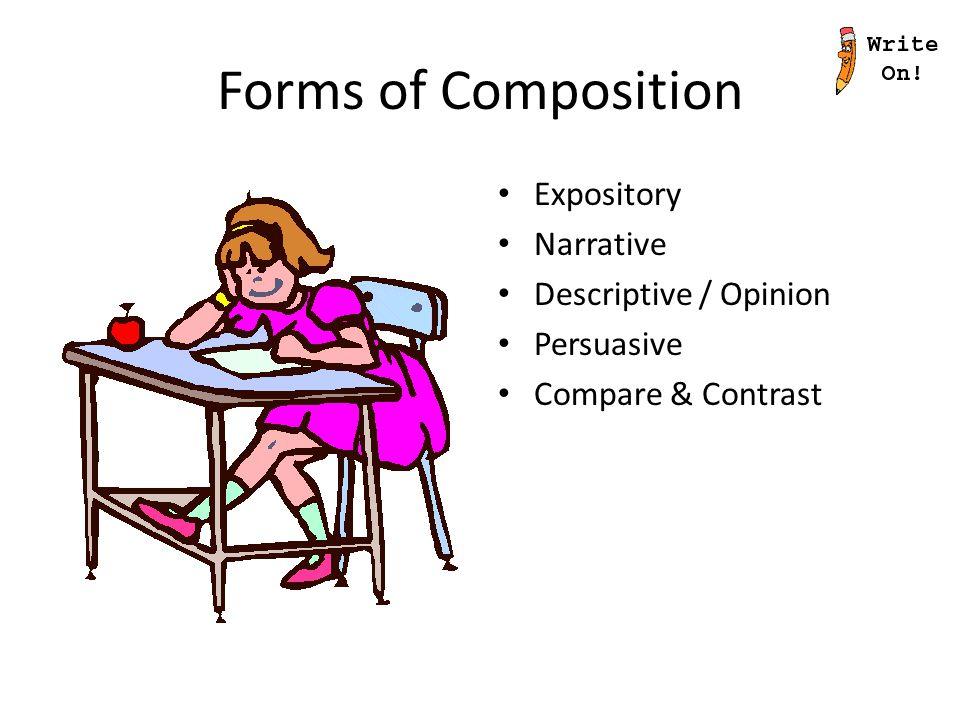 Forms of Composition Expository Narrative Descriptive / Opinion