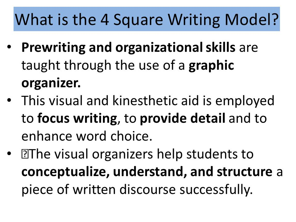 What is the 4 Square Writing Model