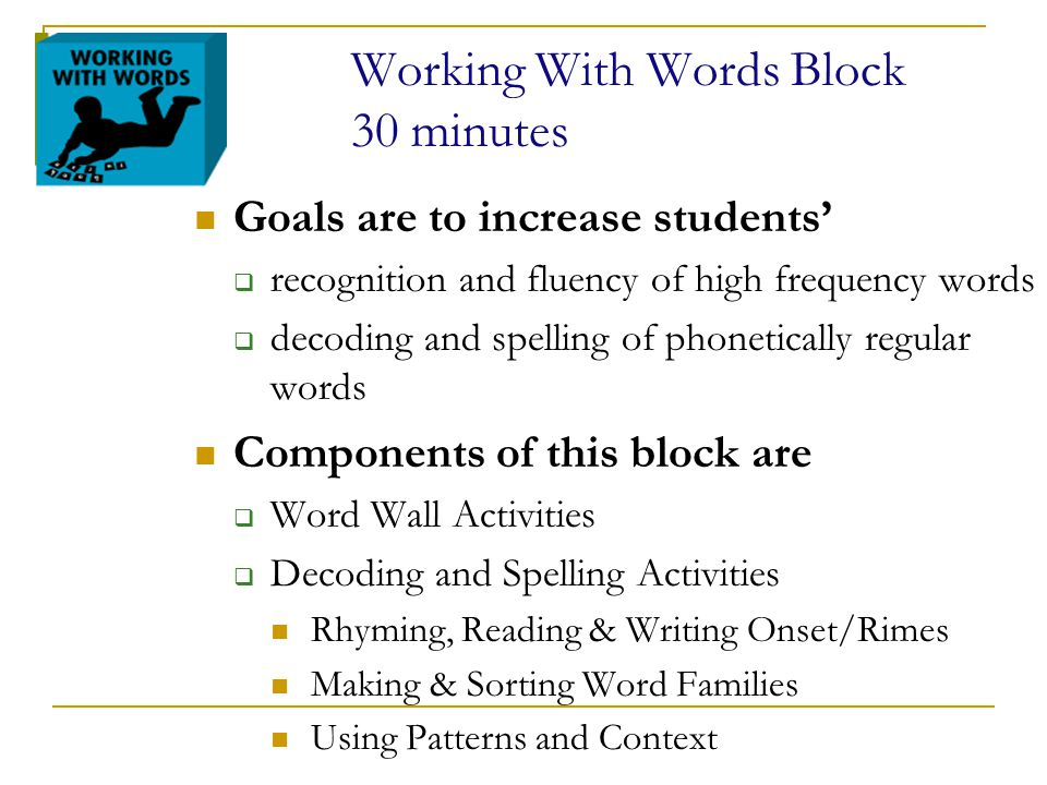 Working With Words Block 30 minutes