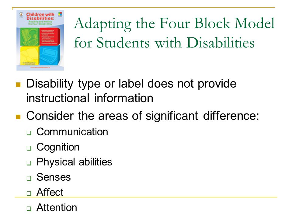 Adapting the Four Block Model for Students with Disabilities