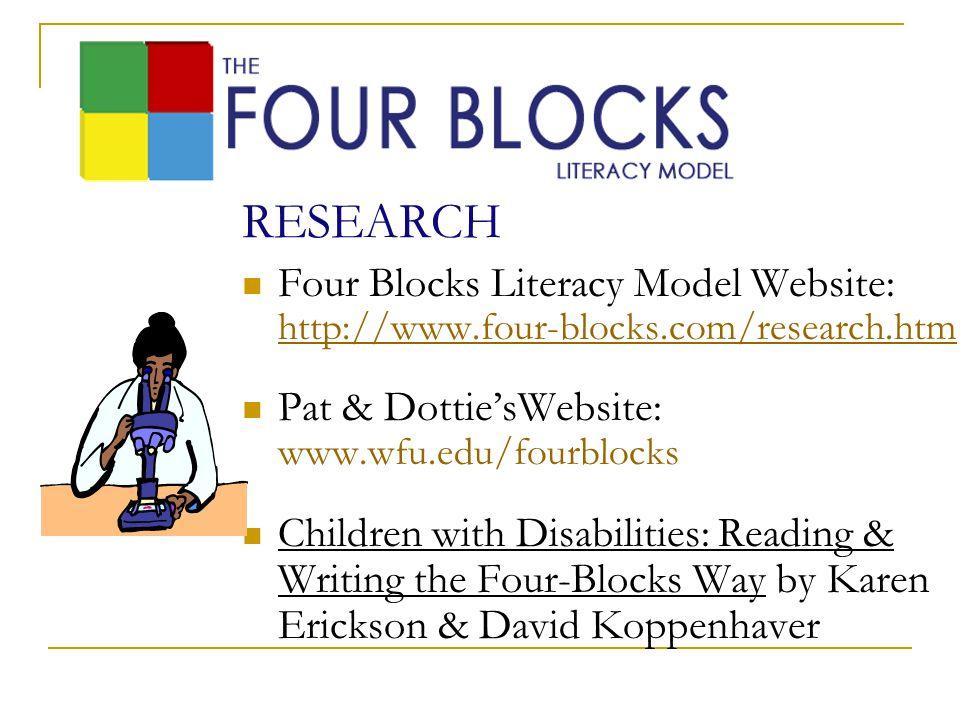 RESEARCH Four Blocks Literacy Model Website: http://www.four-blocks.com/research.htm. Pat & Dottie'sWebsite: www.wfu.edu/fourblocks.