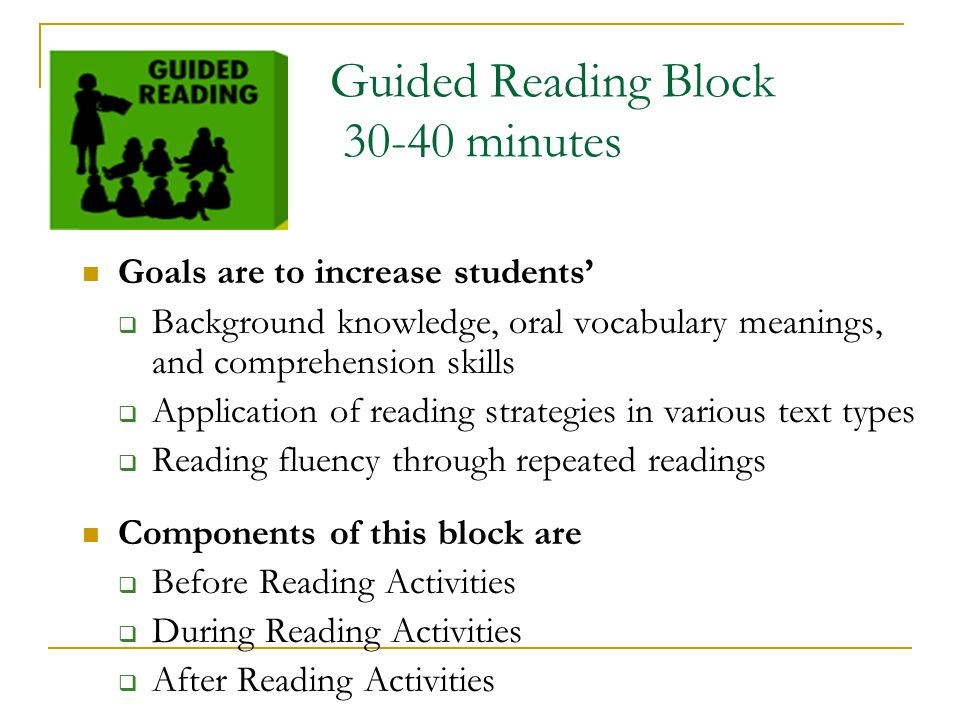 Guided Reading Block 30-40 minutes
