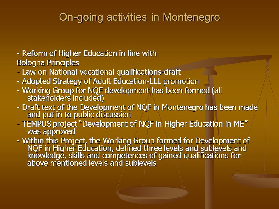 On-going activities in Montenegro