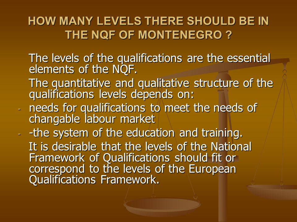 HOW MANY LEVELS THERE SHOULD BE IN THE NQF OF MONTENEGRO