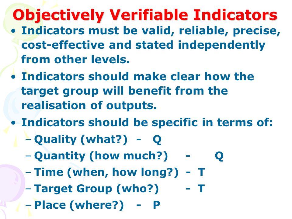 Objectively Verifiable Indicators