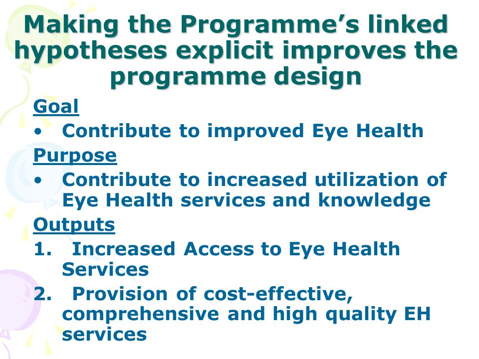 Making the Programme's linked hypotheses explicit improves the programme design
