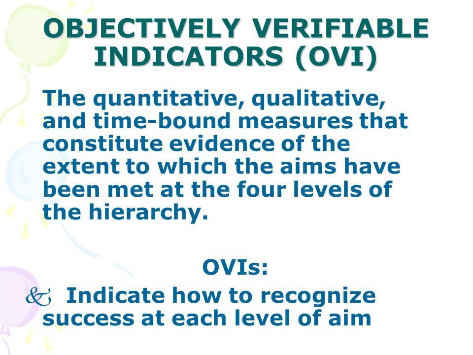 OBJECTIVELY VERIFIABLE INDICATORS (OVI)