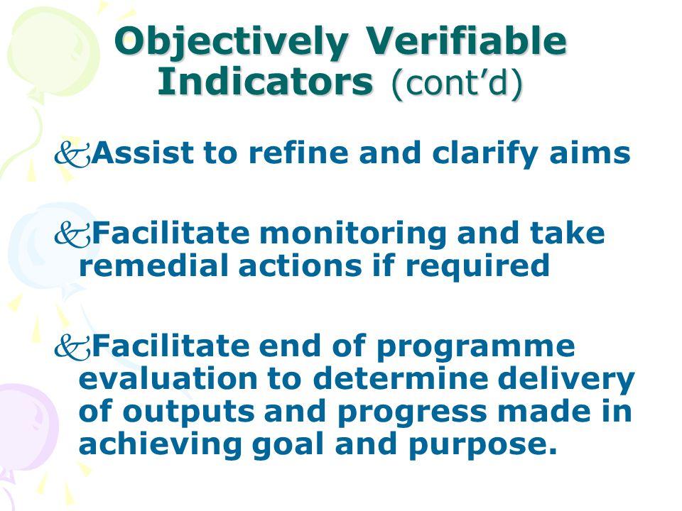 Objectively Verifiable Indicators (cont'd)