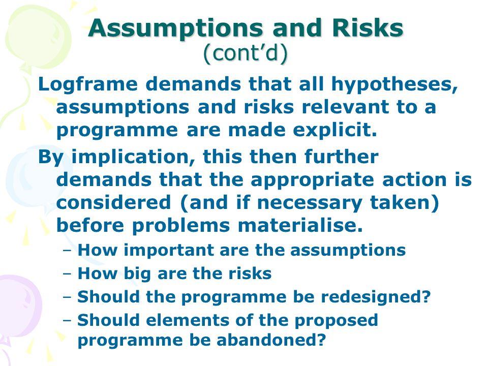 Assumptions and Risks (cont'd)