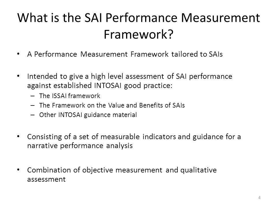 What is the SAI Performance Measurement Framework