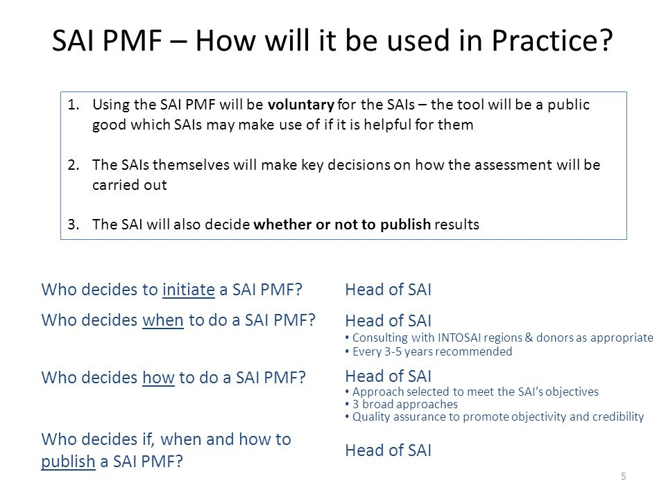 SAI PMF – How will it be used in Practice