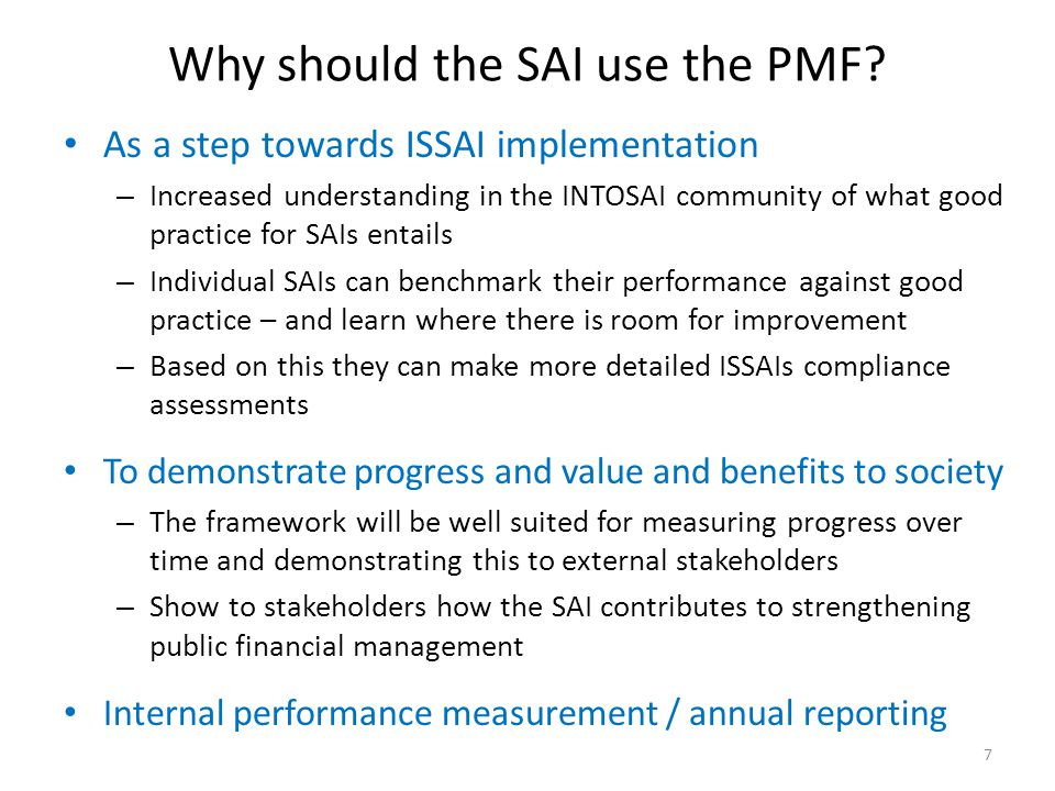 Why should the SAI use the PMF