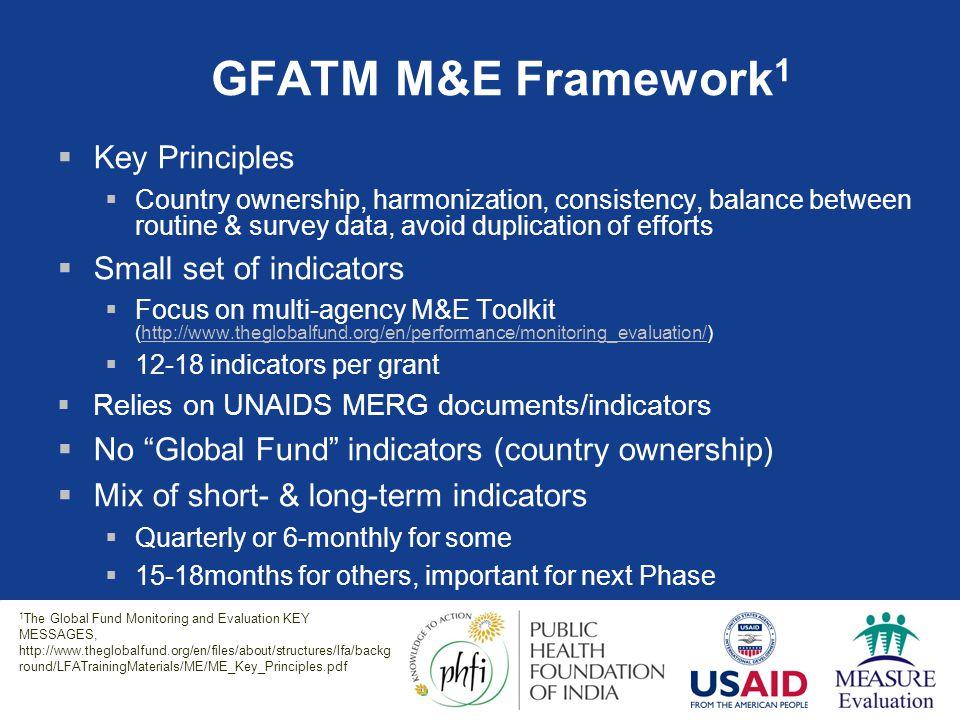 GFATM M&E Framework1 Key Principles Small set of indicators