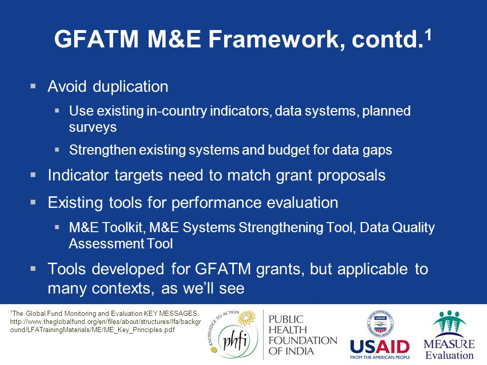 GFATM M&E Framework, contd.1