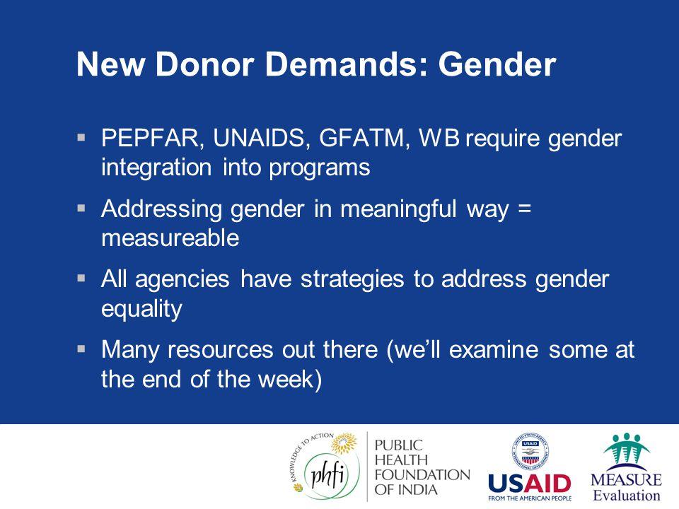 New Donor Demands: Gender