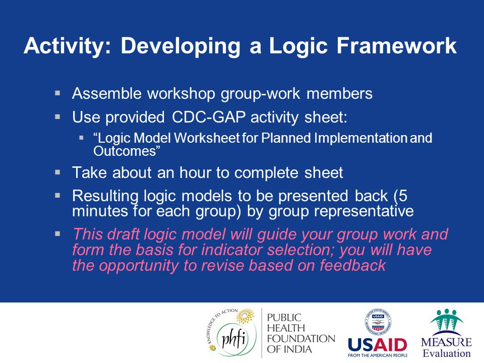 Activity: Developing a Logic Framework