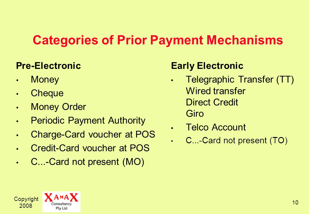 Categories of Prior Payment Mechanisms