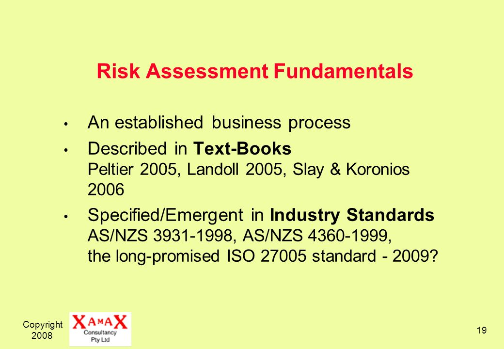 Risk Assessment Fundamentals