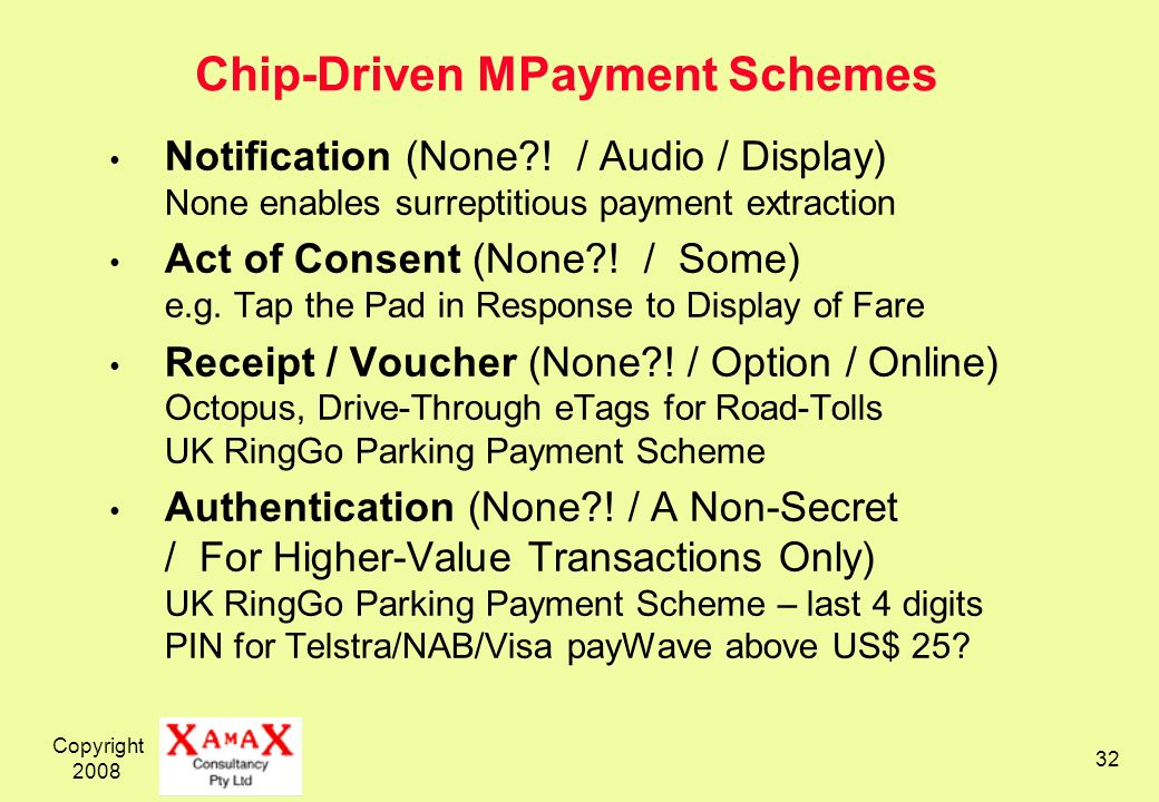 Chip-Driven MPayment Schemes