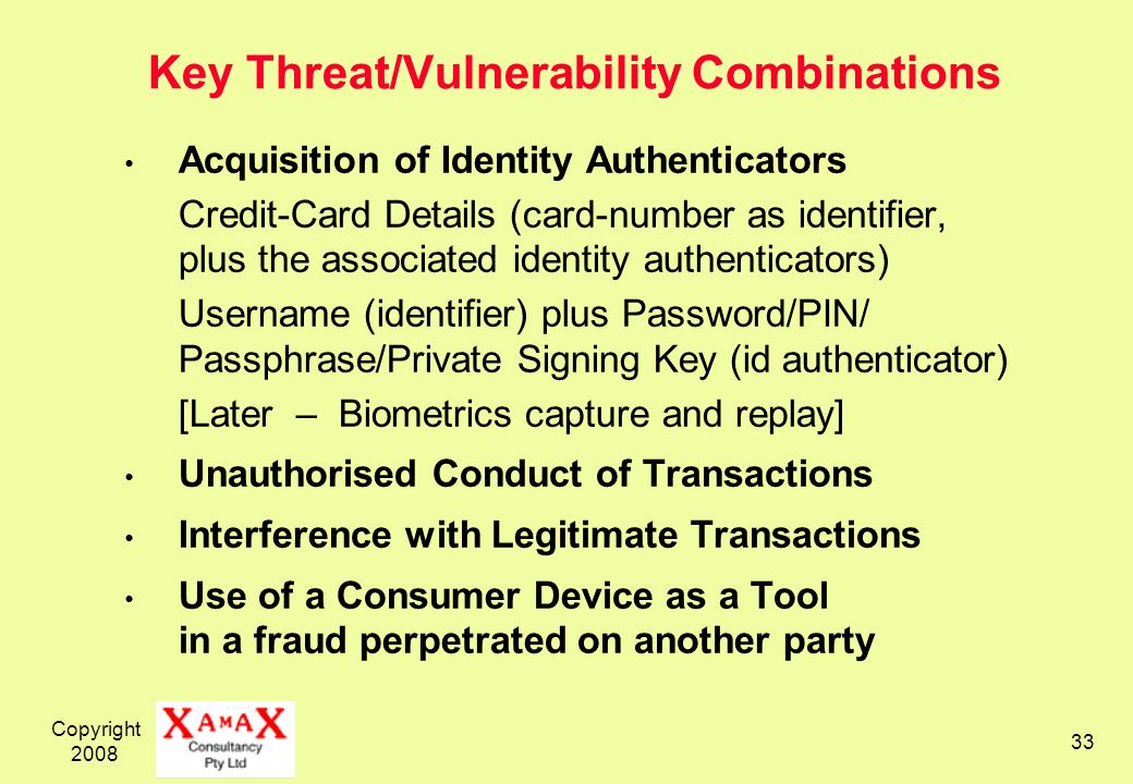 Key Threat/Vulnerability Combinations