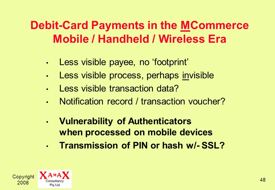 Debit-Card Payments in the MCommerce Mobile / Handheld / Wireless Era