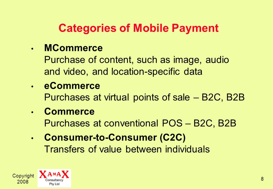 Categories of Mobile Payment