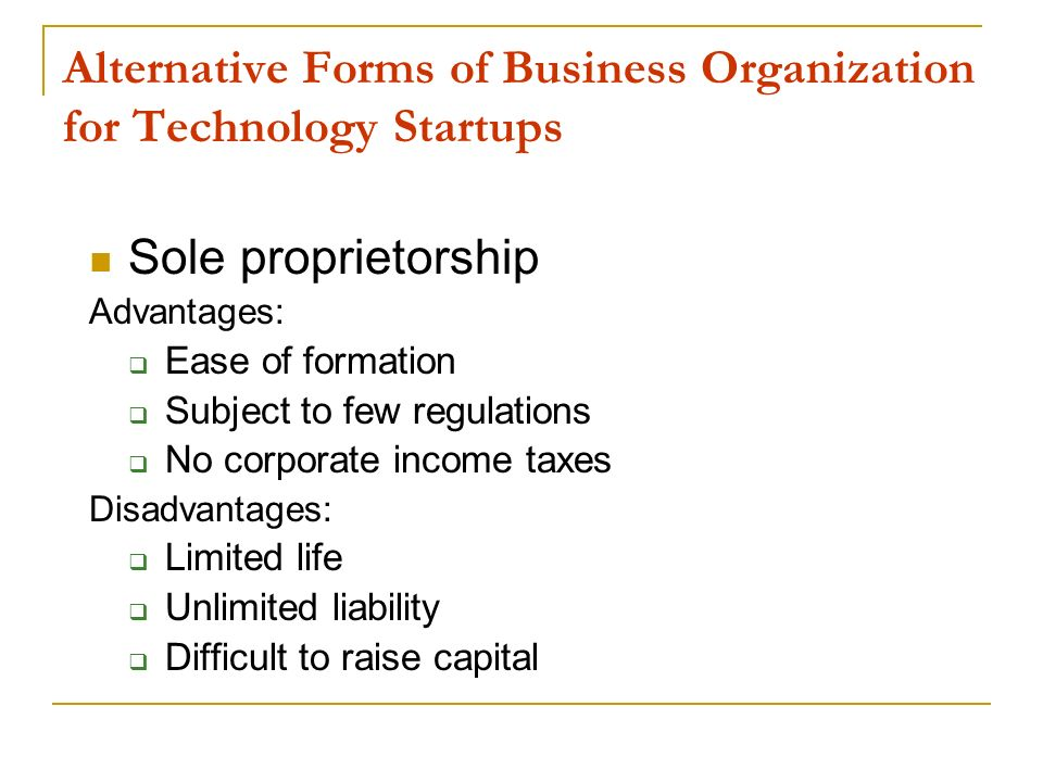 Alternative Forms of Business Organization for Technology Startups