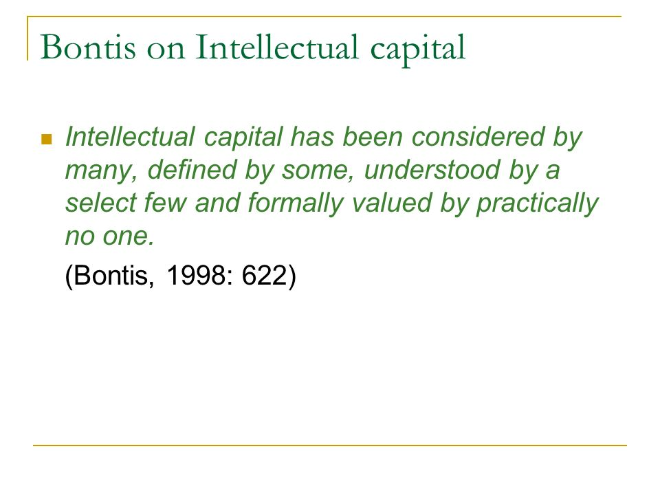 Bontis on Intellectual capital
