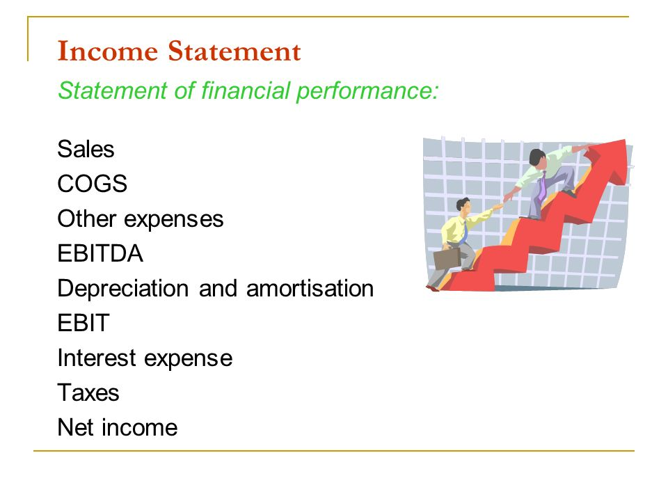 Income Statement Statement of financial performance: Sales COGS