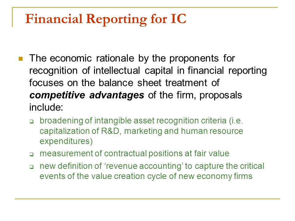 Financial Reporting for IC