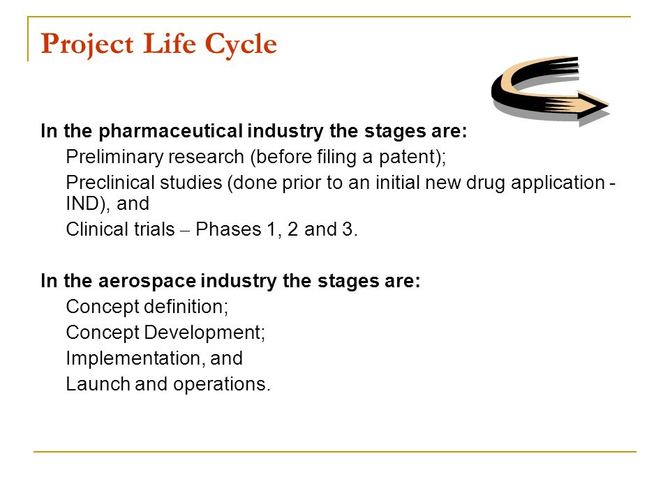 Project Life Cycle In the pharmaceutical industry the stages are:
