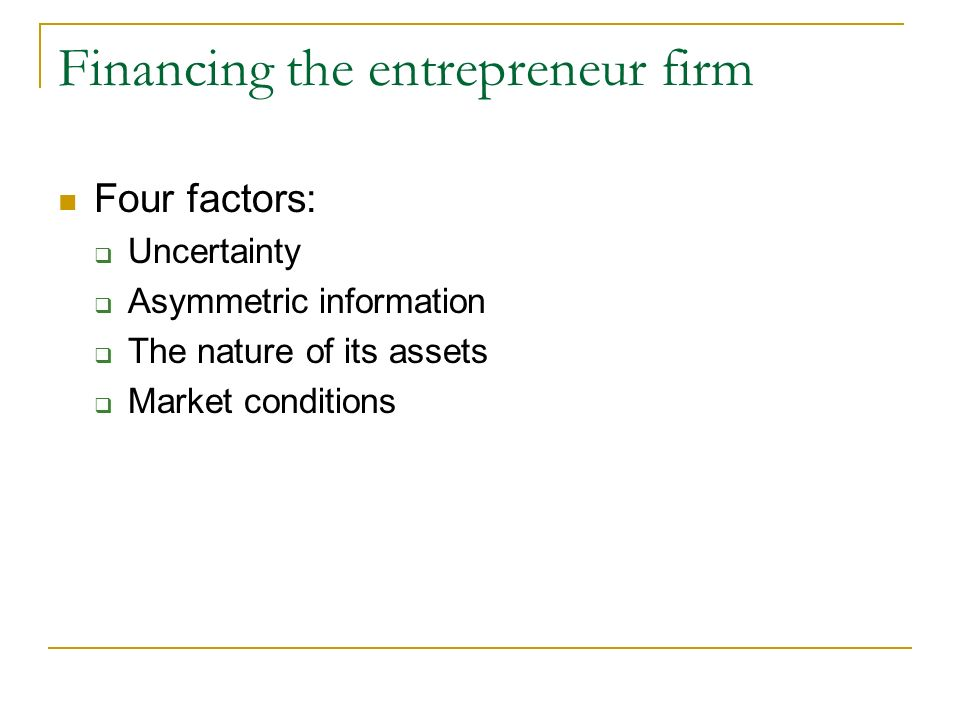 Financing the entrepreneur firm