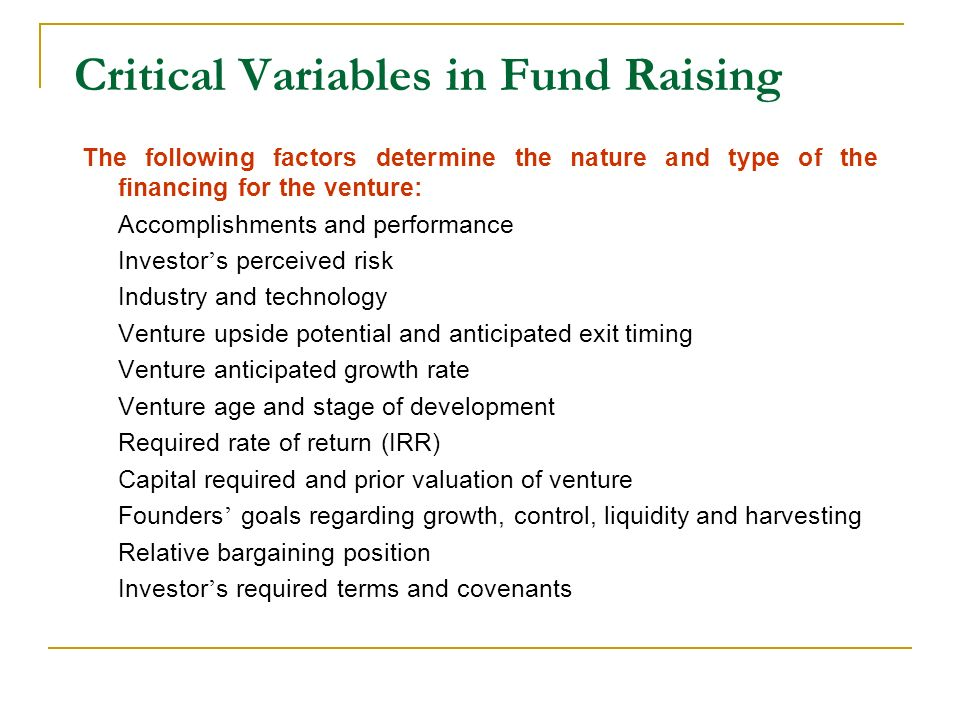 Critical Variables in Fund Raising