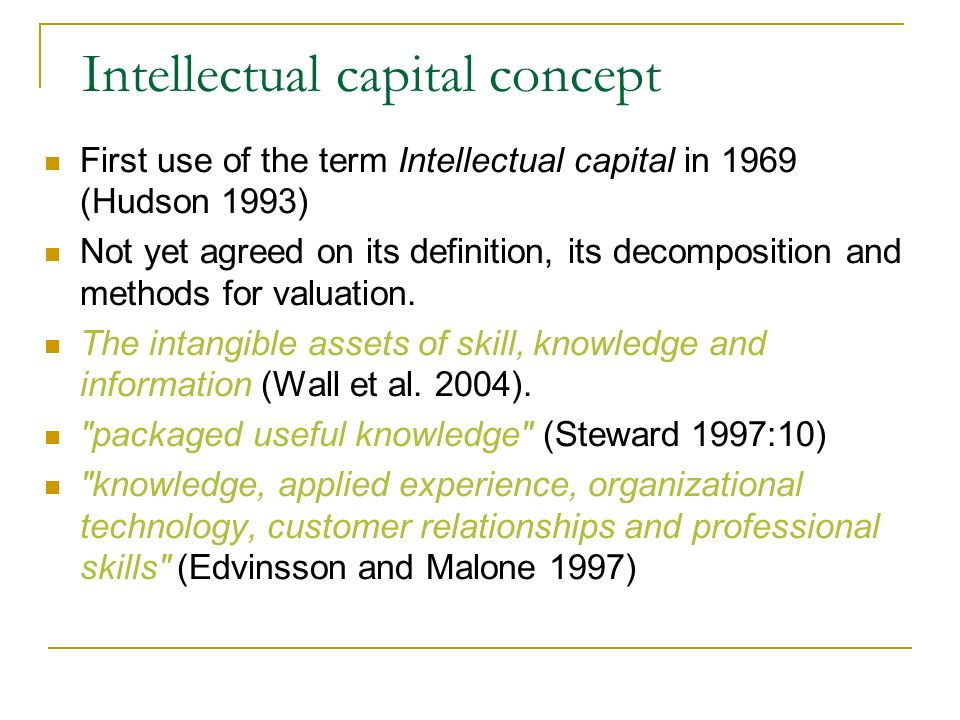 Intellectual capital concept