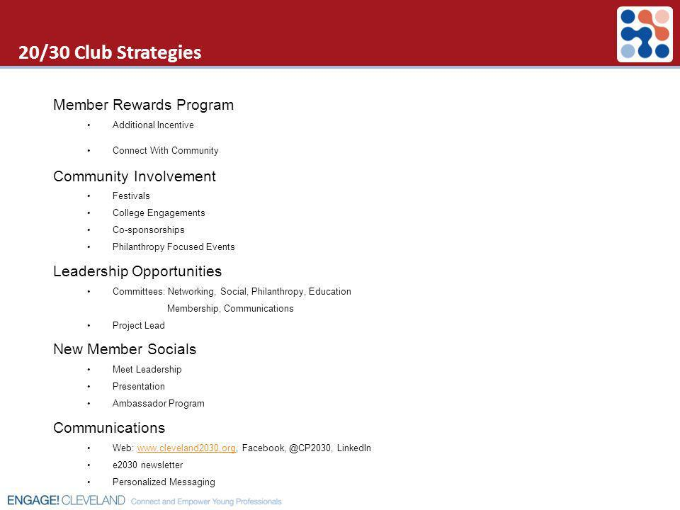 20/30 Club Strategies Member Rewards Program Community Involvement